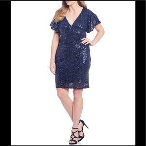 Marina Sequin Flutter Sleeve Sheath Dress,navy,NWT